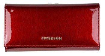 c7aecd5ec4397 Portfel damski Peterson skórzany czerwony lakierowany 259