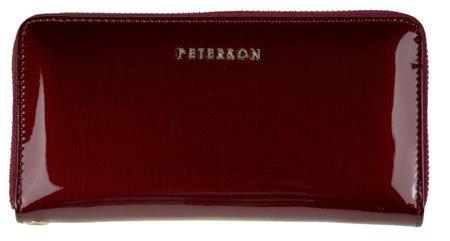 Portfel damski Peterson czerwony na zamek skórzany
